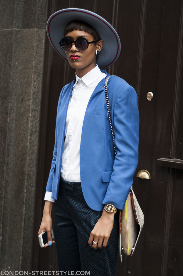 London Collections: Men Spring Summer 2014, fashion, street style,london streetstyle,fashion photography, fashionable, fashionista, street fashion, women's fashion, womensfashion, womenswear, style, blue blazer, white shirt, women's hat, womens hat, sunglasses, Donya Campbell