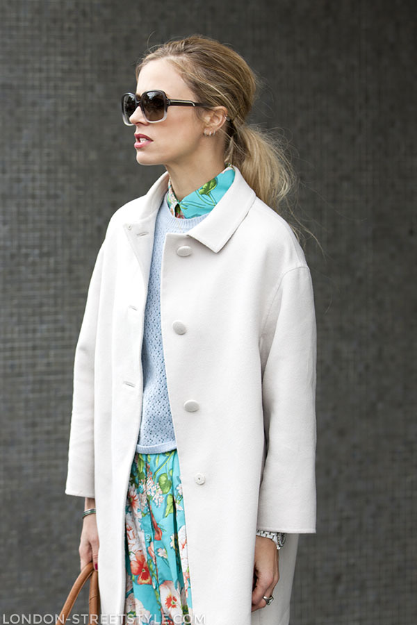 Vogue Festival 2013, fashion, street style,london streetstyle,fashion photography, fashionable, fashionista, street fashion, women's fashion, womensfashion, womenswear, style, sunglasses, brown sunglasses, white coat, floral skirt