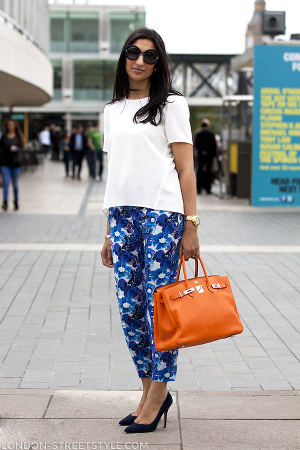 Vogue Festival 2013, fashion, street style,london streetstyle,fashion photography, fashionable, fashionista, street fashion, women's fashion, womensfashion, womenswear, style, hermes, hermes bag, floral print trousers, white top