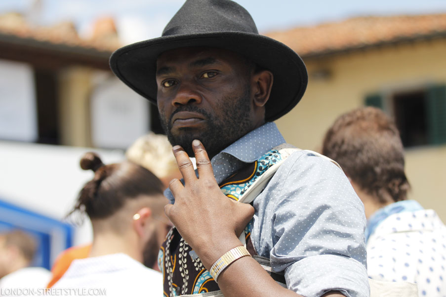 Pitti Imagine Uomo, Pitti Imagine Uomo 2013, Pitti Imagine Uomo 85, Italy, Florence, Firenze, Fortezza da Basso , fashion, street style,fashion photography, fashionable, fashionista, street fashion, men's fashion, mensfashion, menswear, style, stylish men,jacket, men's jacket, mens jacket, green jacket, green men's jacket, green mens jacket, brown jacket, brown men's jacket, brown mens jacket, pattern, pattern jacket, pattern men jacket, pattern men's jacket, patterned mens jacket, glasses, men's glasses, mens glasses, top, green top, men's top, mens top, green top, shirt, men's shirt, mens shirt, white shirt, trousers, men's trousers, mens trousers, dark blue trousers, pattern trousers, pattern men's trousers, pattern mens trousers, shirt, men's shirt, men's shirt, white shirt, white men's shirt, white mens shirt, hat, men's hat, mens hat, brown hat, brown mens hat, brown men's hat, hermes, hermes belt, men's belt, hermes men's belt, hermes mens belt, silviu doroftei, london streetstyle, london-streetstyle.com, portrait, great portrait, amazing portrait, black portrait, black men portrait, beautiful image, portrait